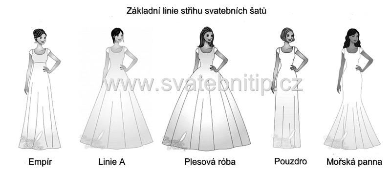 Svatební šaty střihy a linie